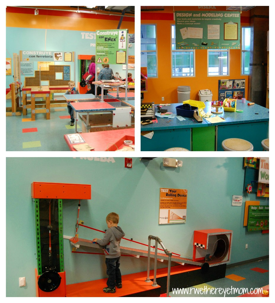 older kids really enjoy the upstairs tinkers workshop where they can build and test cars design a building or create something completely new out of
