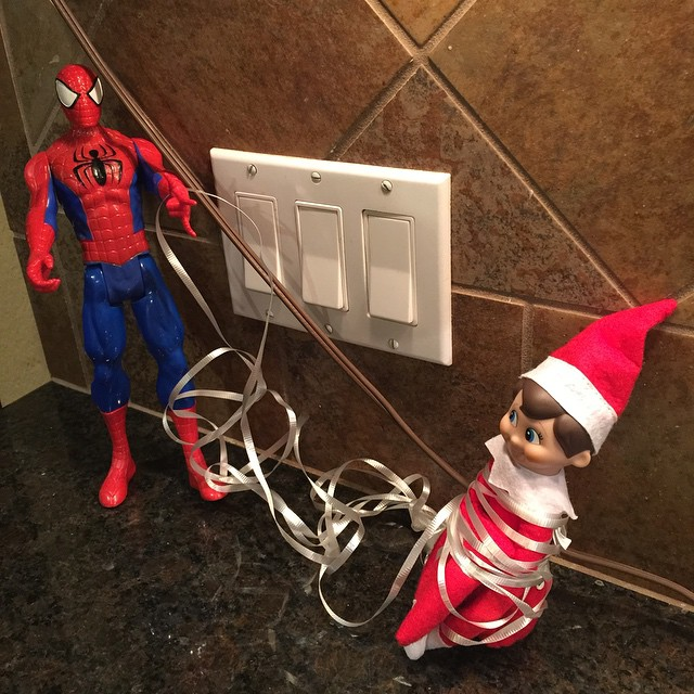 Don't worry y'all. Spider-Man got him back. #georgetheelf #elfontheshelf #elf