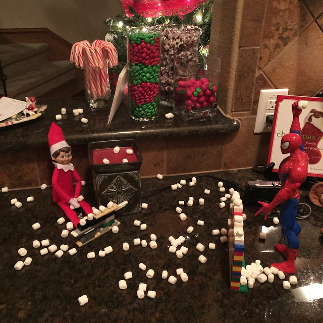 It seems to be an all-out war between George & Spider-Man. #georgetheelf #elfontheshelf #elf