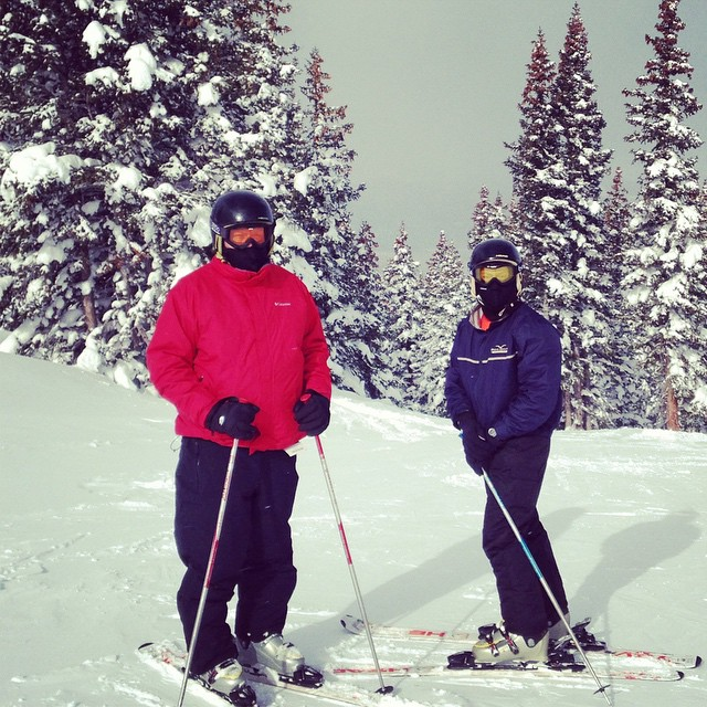 You can't see it, but there is a #mountainscape behind us on this snowy day in Winter Park last year. Can't wait to see those Colorado mountains soon! #coloradosprings #TMOM