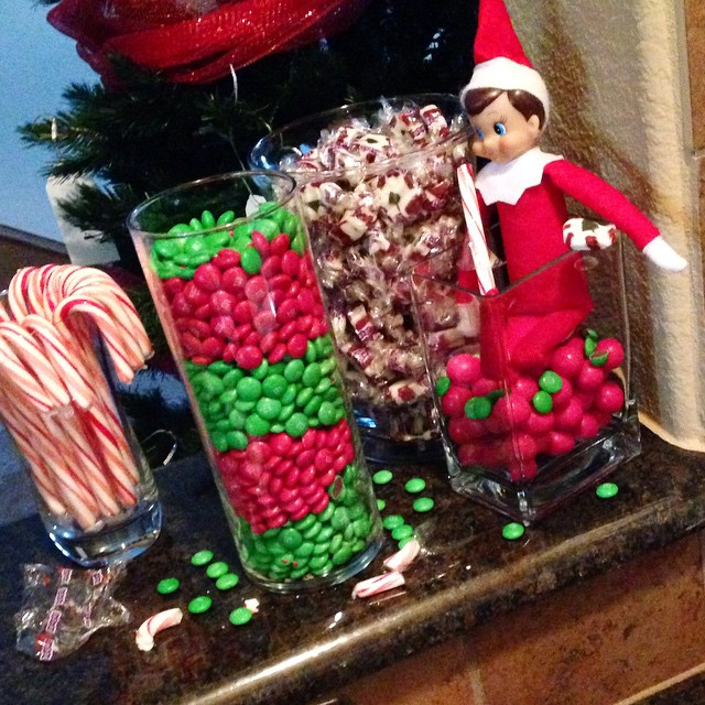 Apparently George was not very happy with us leaving him this weekend, so he made a mess of all our Christmas candy..... #elfontheshelf #elf #georgetheelf