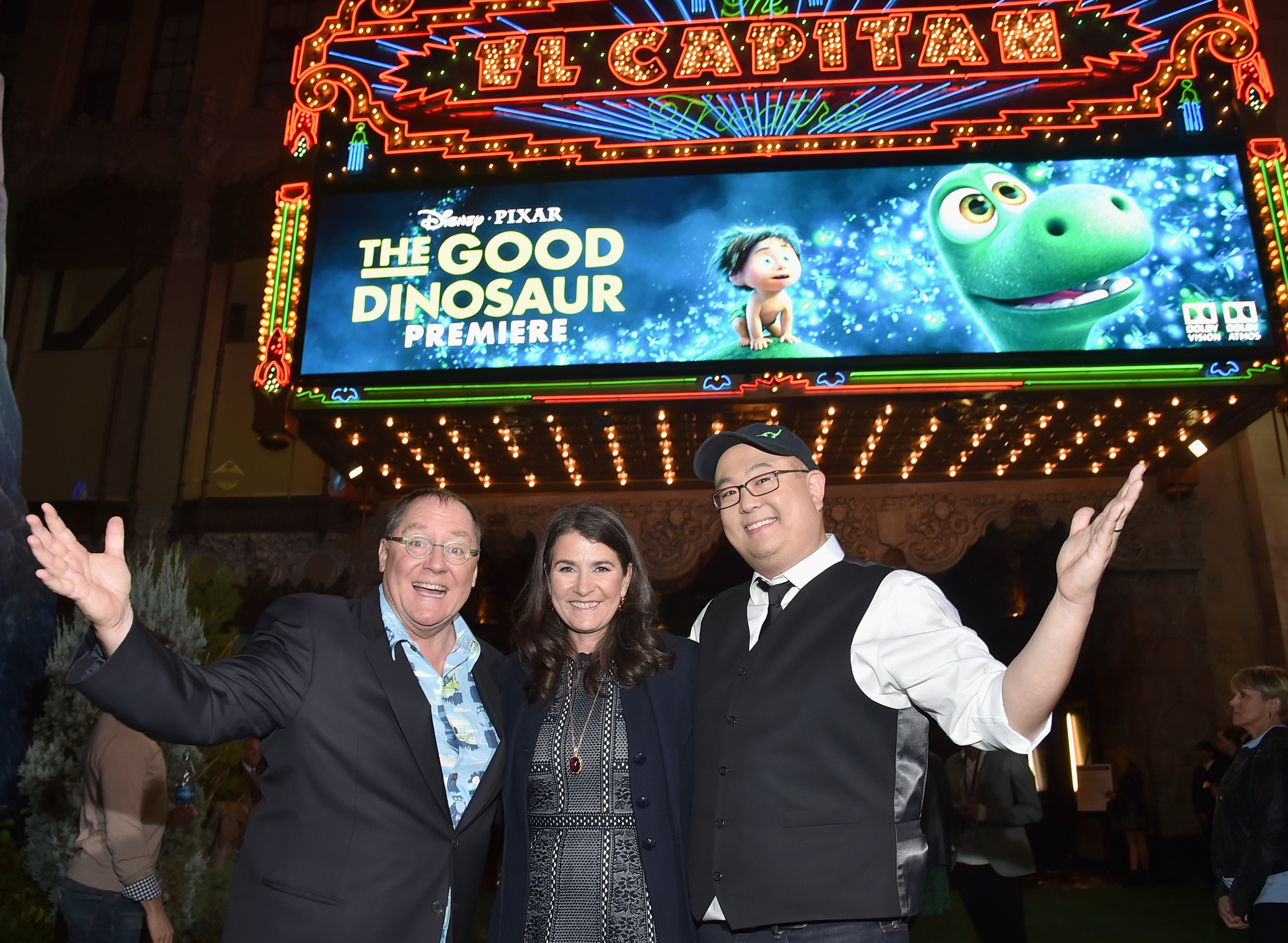 HOLLYWOOD, CA - NOVEMBER 17: (L-R) Executive producer John Lasseter, producer Denise Ream and director Peter Sohn attend the World Premiere Of Disney-Pixar's THE GOOD DINOSAUR at the El Capitan Theatre on November 17, 2015 in Hollywood, California. (Photo by Alberto E. Rodriguez/Getty Images for Disney) *** Local Caption *** John Lasseter; Peter Sohn; Denise Ream