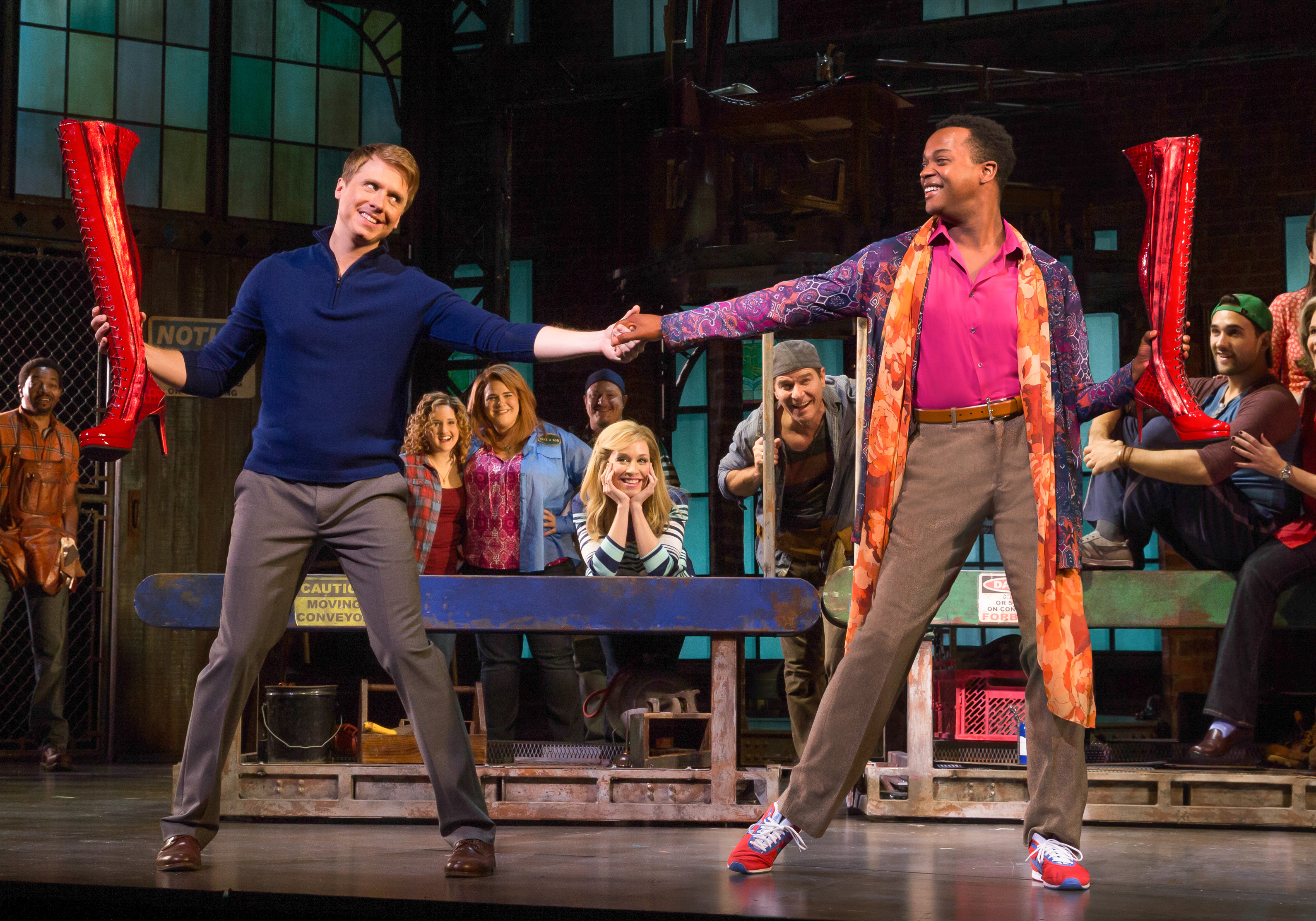 Adam Kaplam (R to L) as Charlie Price and J. Harrison Ghee as Lola/Simon, Kinky Boots National Tour.  Photo credit: Matthew Murphy.