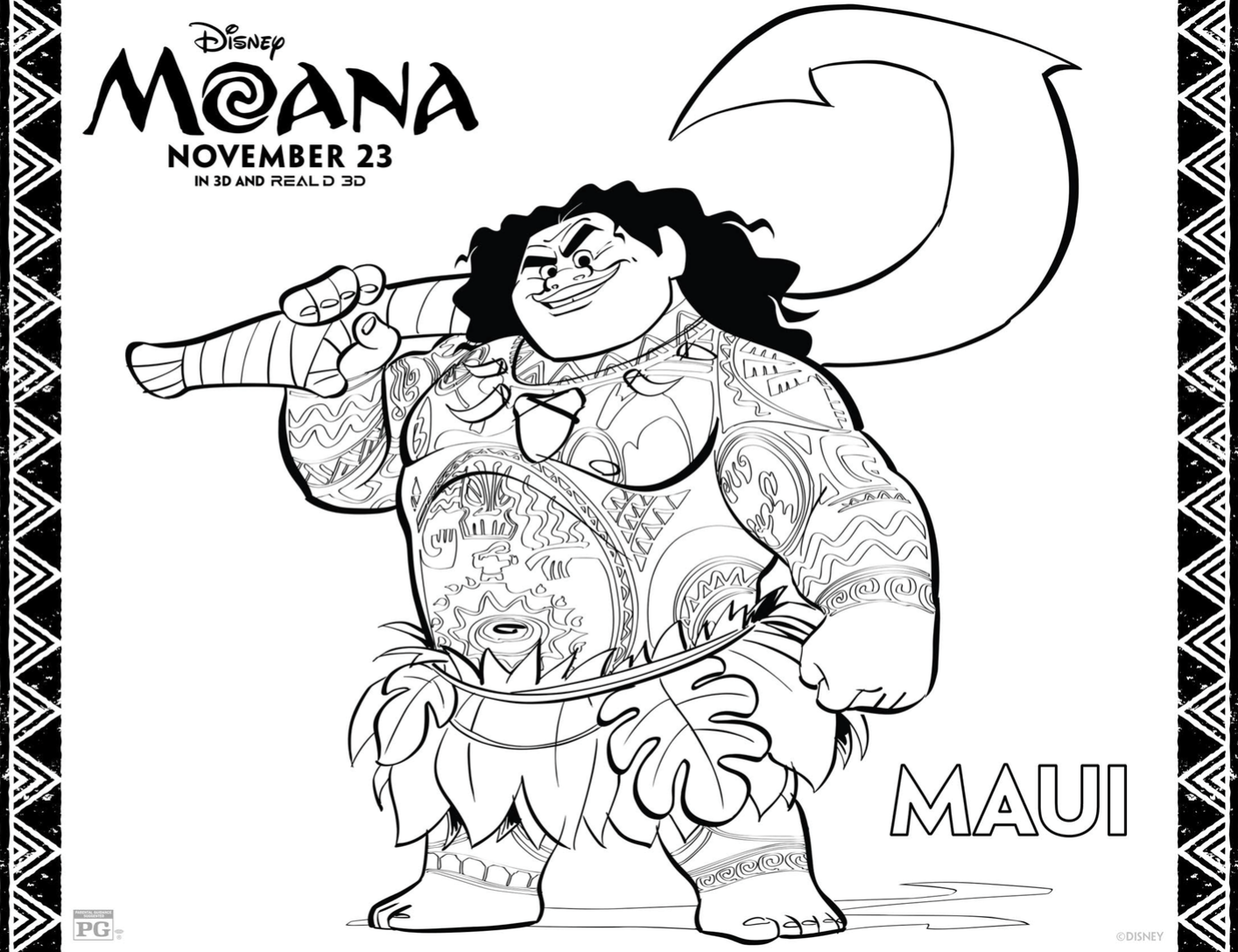 Line Drawing Year : Disney s moana activity sheets moanaevent r we there