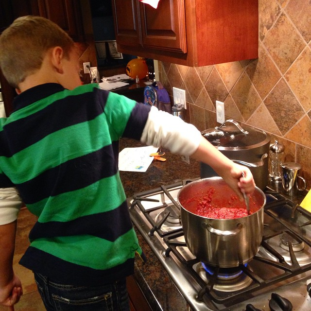 Cooking lasagna with my youngest - little does he know what's in it...